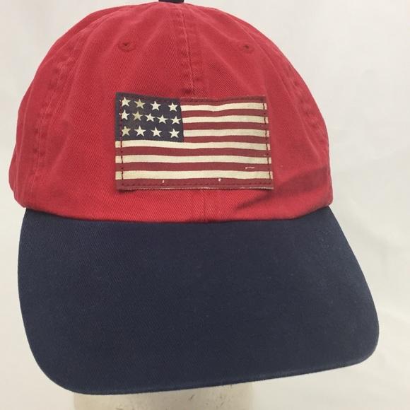 194742d882e7a Polo Ralph Lauren Cap Hat USA Flag Spell Out Pony